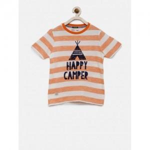Indian Terrain Orange & Off-White Cotton Striped Round Neck T-shirt