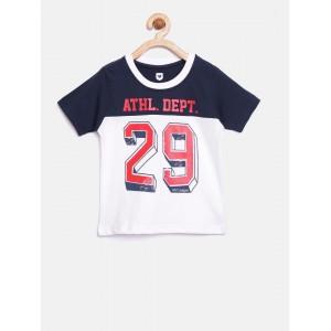 612 league Boys White Printed Round Neck T-shirt