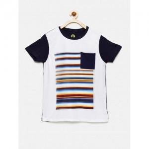 YK Boys White & Navy Striped Round Neck T-shirt