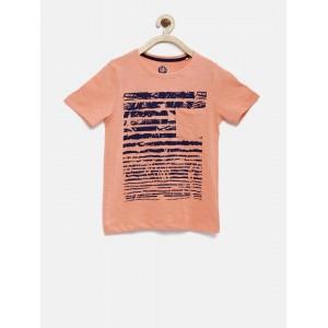YK Boys Peach-Coloured Striped Round Neck T-shirt