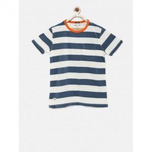 Indian Terrain Boys Navy Blue & Gray Printed T-Shirt