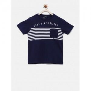 Indian Terrain Navy Blue Cotton Printed T-Shirt