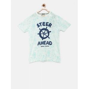 Indian Terrain Boys White & Blue Printed T-Shirt