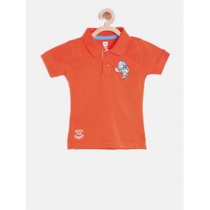 612 League Boys Orange Solid Polo Collar T-shirt