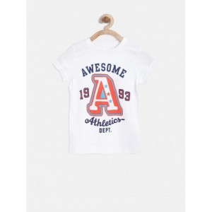Mothercare White Cotton Printed T-Shirt