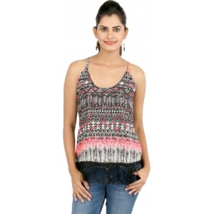 22nd Street Casual Sleeveless Printed Women's Black Top