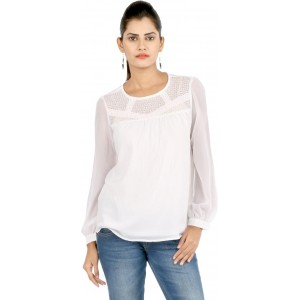 22nd Street Casual Full Sleeve Solid Women's White Top