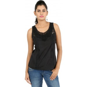 22nd Street Casual Sleeveless Solid Women's Black Top