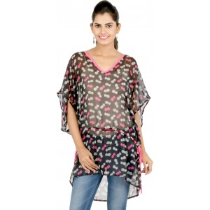 22nd Street Casual Kimono Sleeve Printed Women's Black Top