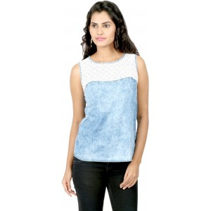 22nd Street Casual Sleeveless Solid Women's Blue Top