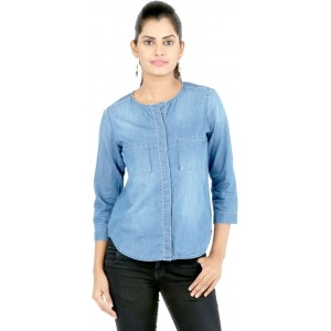 22nd Street Casual 3/4th Sleeve Solid Women's Blue Top