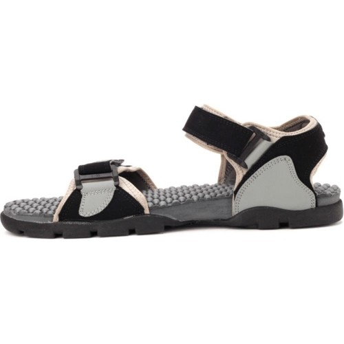 Sparx Black Grey Sandals for Men