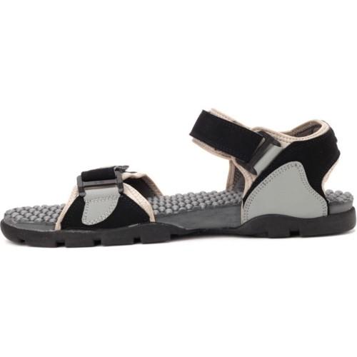 Sparx Black Grey Sandals for Men