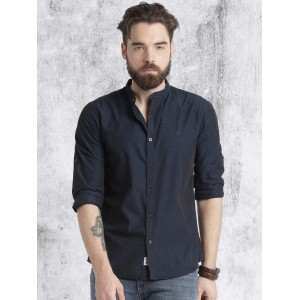 Roadster Navy Blue Regular Fit Solid Casual Shirt