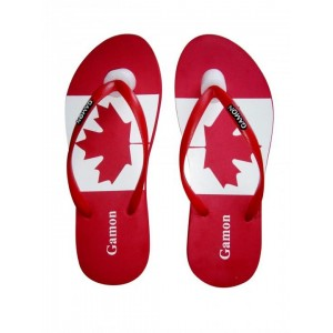 Maple Red & White Printed Casual Flip Flop