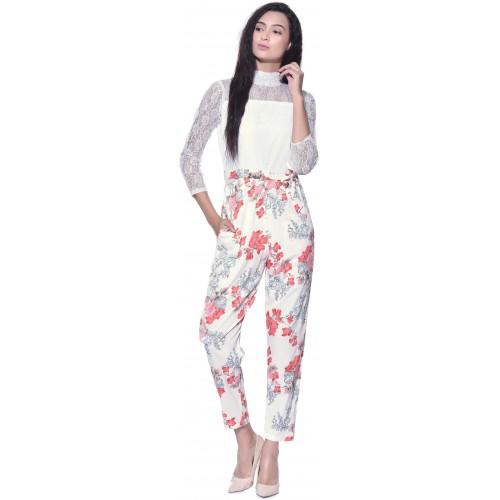 df01d82d1609 Buy Aayu White Floral Printed Crepe Jumpsuit online