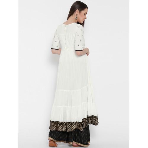 Biba Women White Embroidered Anarkali Kurta