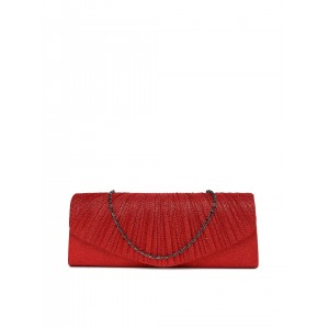 DressBerry Red Synthetic Shimmery Clutch