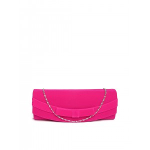 DressBerry Pink Velvet Finish Clutch with Chain Strap