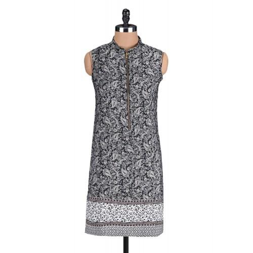@ 499 monochrome printed cotton front zipper kurta