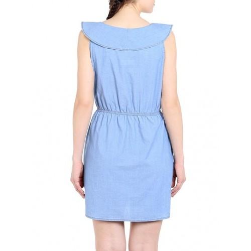 TARAMA light blue denim ruffle dress