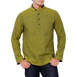 Svanik Green Solid Cotton Short Kurta