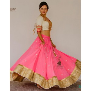 Pink Silk Embroidered Lehenga