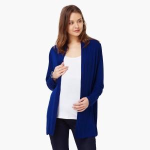 MAX Blue Solid Full Sleeves Maternity Shrug