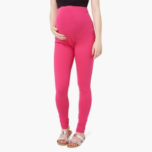 MAX Pink Solid Maternity Leggings
