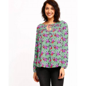 Oxolloxo Mint Floral Printed Maternity Top