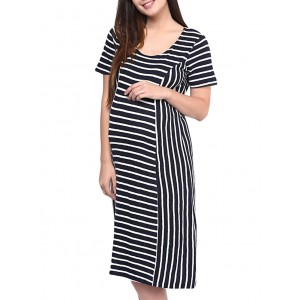 Mine4Nine Black Cotton Striped Maternity Dress