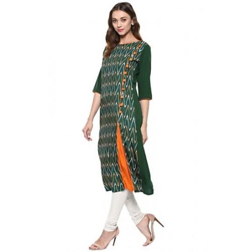 Janasya Green Embellished Crepe A-Line Kurti