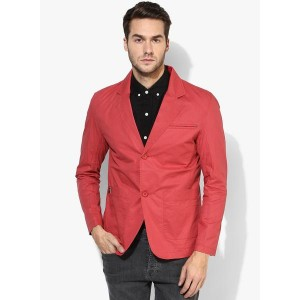Spykar Red Cotton Polyester Slim Fit Solid Casual Blazer