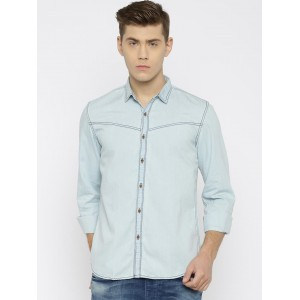 Nature Casuals Blue Washed Slim Fit Solid Denim Shirt