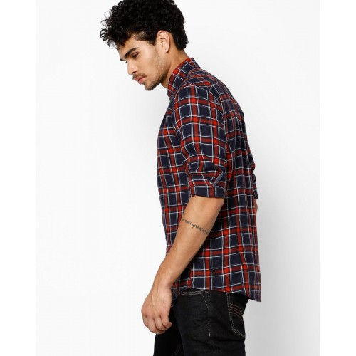 best deals on cheapest best choice Buy Tom Tailor Navy & Red Tartan Plaid Checked Shirt online ...