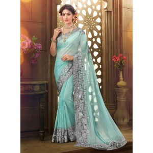 Inddus Aqua Blue Embellished Saree