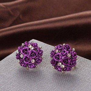 YouBella Purple Rose Shape Fancy Party Wear Earrings