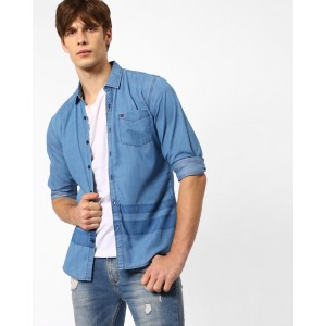 WRANGLER Blue Glyn Slim Fit Denim Shirt