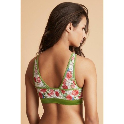 814ee15baea60 Buy Zivame Green Double Layered Printed Lace Full Coverage Bralette ...
