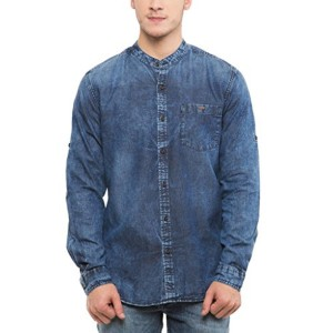 Blue Cotton Denim Solid Slim Fit Casual Shirts