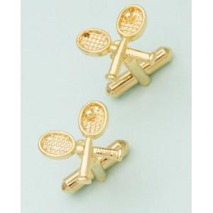 Voylla Tennis Bat Designer Gold Plated Cufflinks