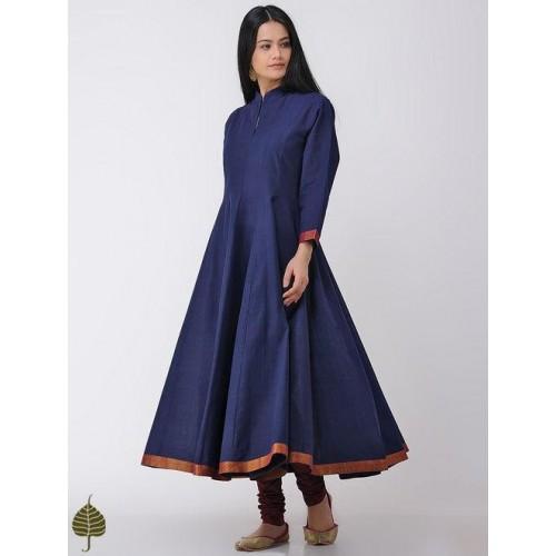 0b96a2d1a4439 Buy Jaypore Navy Blue Solid Handloom Cotton Anarkali Kurta online ...