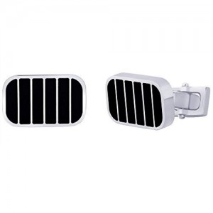 Peora Peora Valentine 316L Stainless Steel Black Epoxy Rectangle Men's Cufflinks with Five Stripes (CL48)