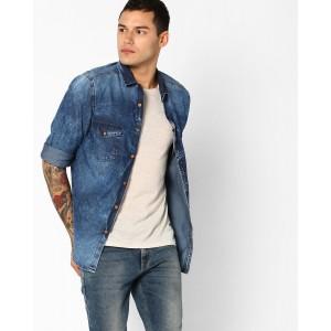 AJIO Blue Washed Slim Fit Denim Shirt