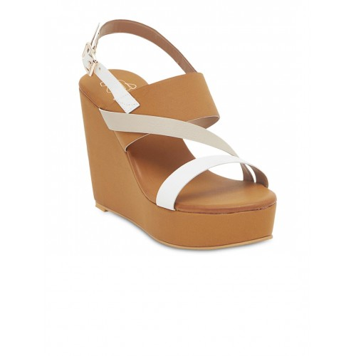 89d83047cd01 Buy 20Dresses Women White   Tan Brown Colourblocked Wedges ...