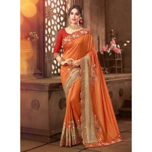 Inddus Orange Embellished Saree