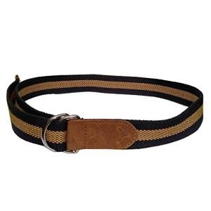 Hidekraft Navy Blue & Brown Canvas-Leather Belt