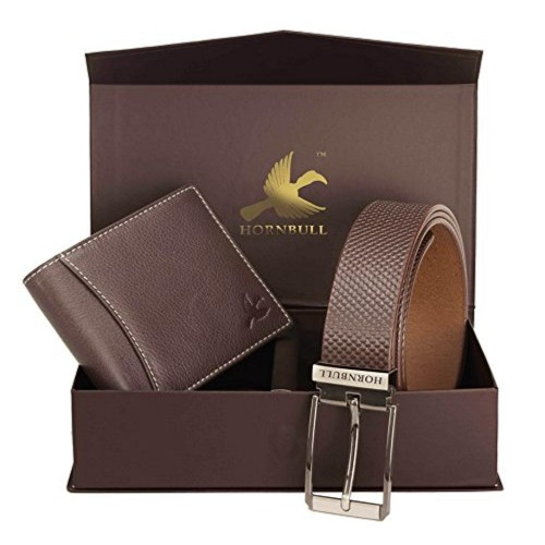 Hornbull Brown Leather Bi Fold Wallet Combo