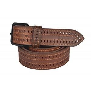 Nerita Men's Brown Laser Cut Genuine Leather Belt