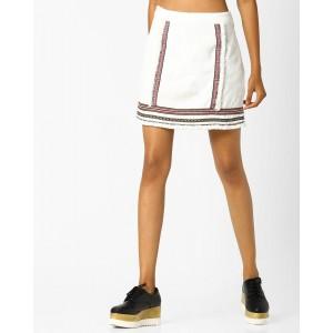 AJIO Embroidered Mini Skirt with Frayed Hemline